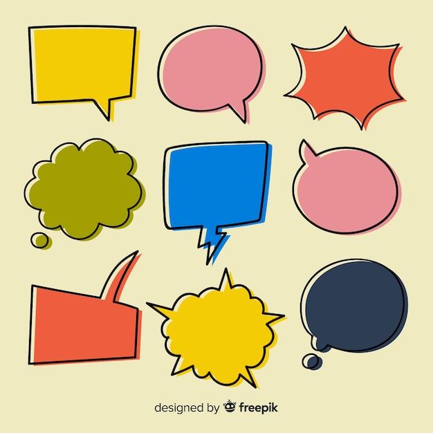 Pacote de bolhas do discurso colorido mão desenhada Vetor grátis