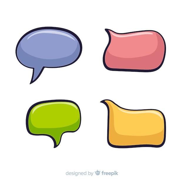 Pacote de bolhas do discurso em quadrinhos coloridos Vetor grátis