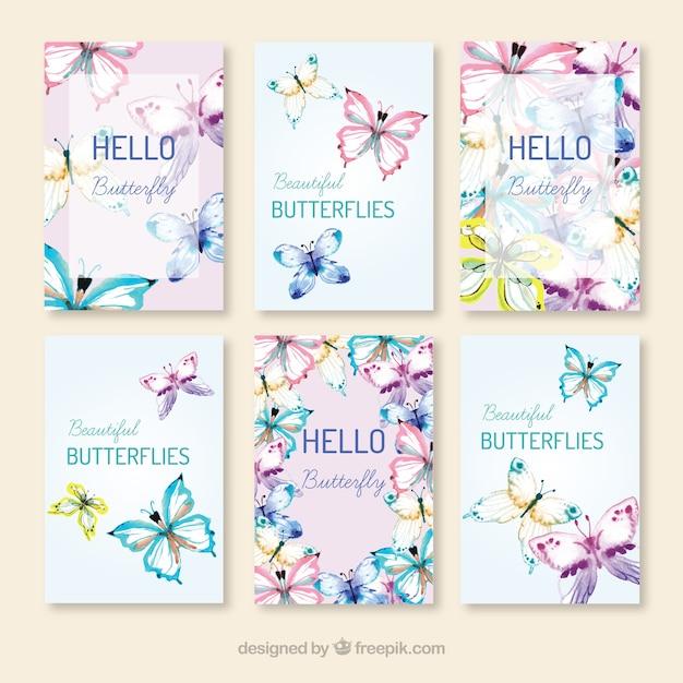 Pacote de borboletas desenhadas à mão cartões Vetor Premium