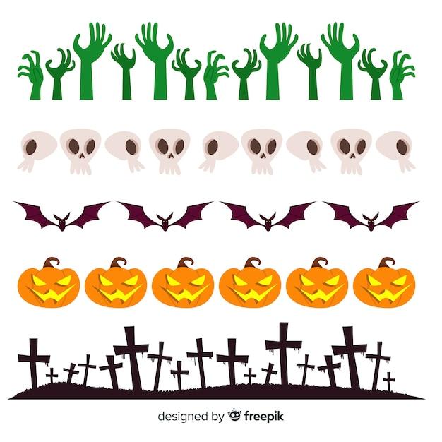 Pacote de bordas decorativas de halloween em design plano Vetor grátis