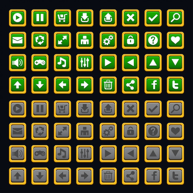 Pacote de botões do jogo Vetor Premium