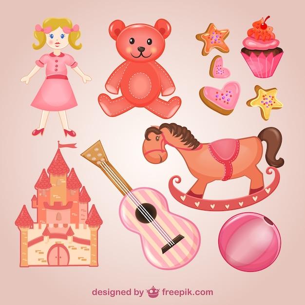 Pacote de brinquedos-de-rosa Vetor grátis