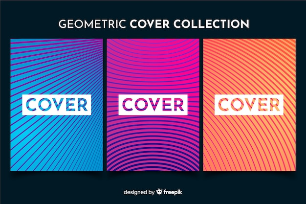 Pacote de brochura de linhas geométricas coloridas Vetor grátis