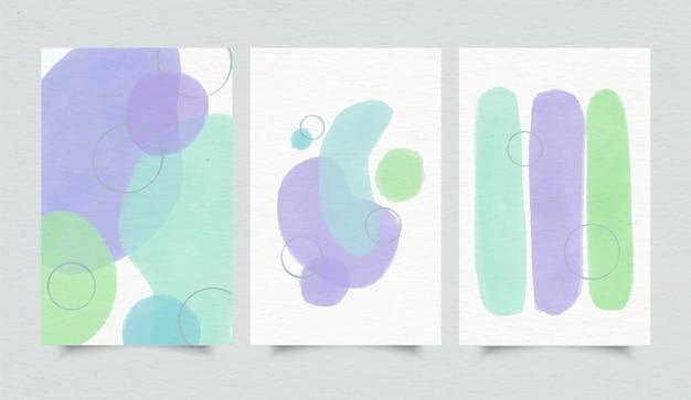 Pacote de capa com formas abstratas de aquarela Vetor Premium