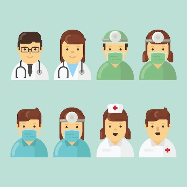 Pacote de caracteres de hospital em design plano Vetor Premium