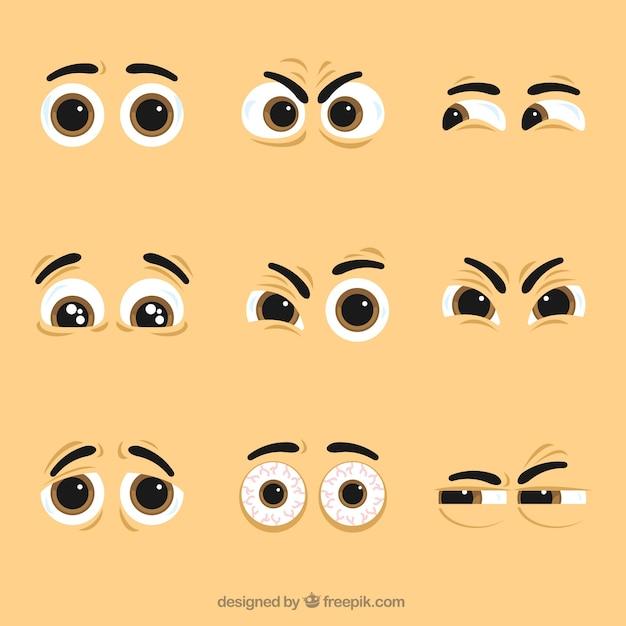 Pacote de caráter olhos agradáveis Vetor grátis