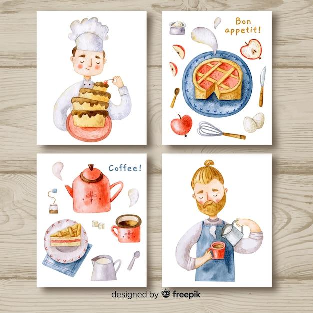 Pacote de cartão de comida de chef aquarela Vetor grátis