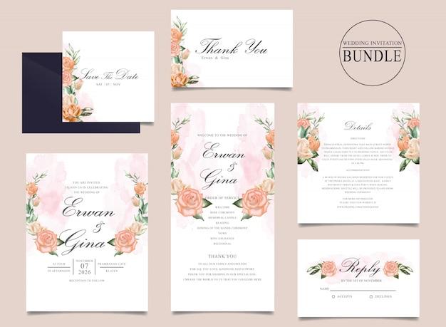 Pacote de cartão de convite de casamento com aquarela floral e folhas Vetor Premium