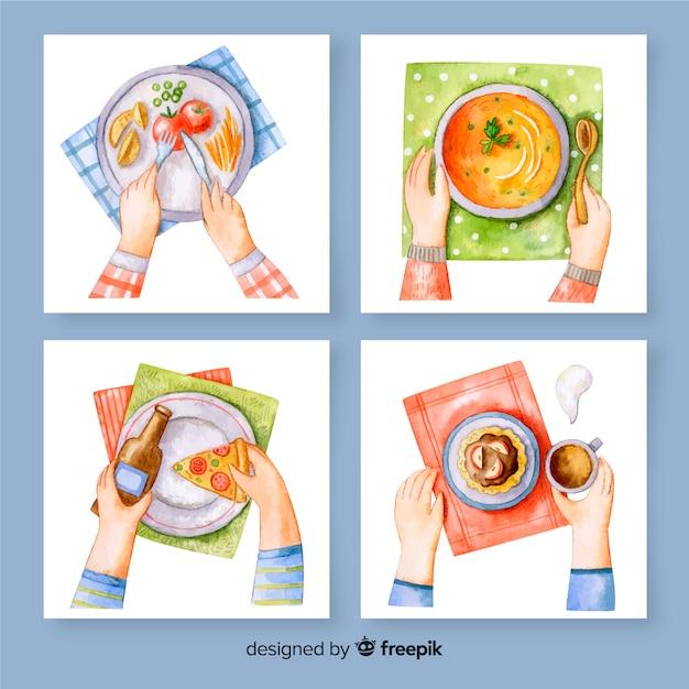 Pacote de cartão de refeição aquarela Vetor grátis