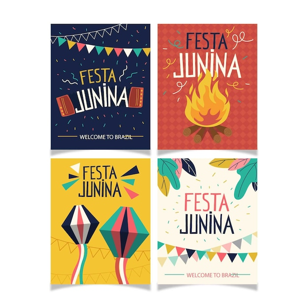 Pacote de cartão festa junina plana Vetor grátis