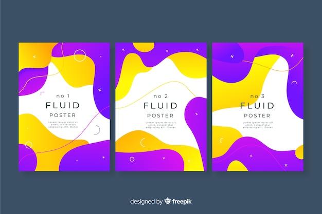 Pacote de cartazes com formas fluidas Vetor grátis