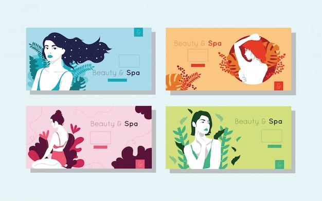 Pacote de cartões de beleza e spa com figuras de mulher Vetor grátis