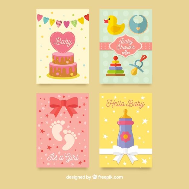 Pacote de cartões de chá de bebê colorido Vetor grátis