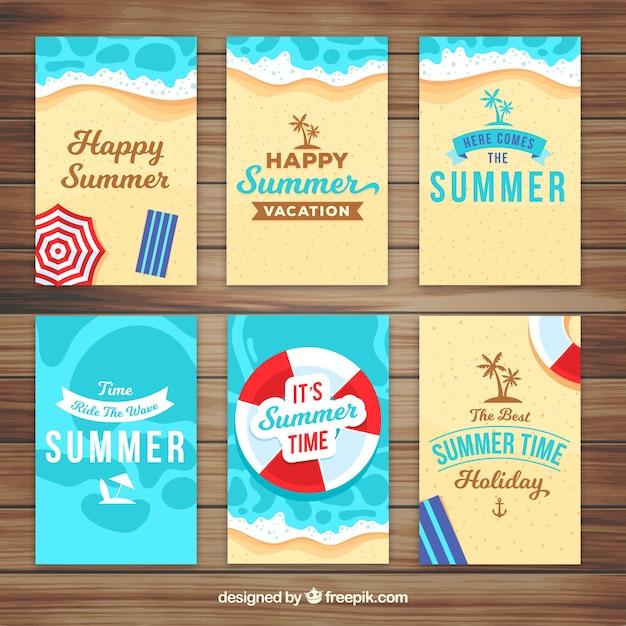 Pacote de cartões de verão Vetor grátis
