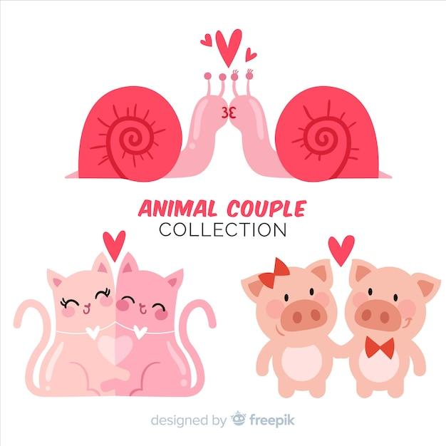 Pacote de casal animal dia dos namorados Vetor grátis
