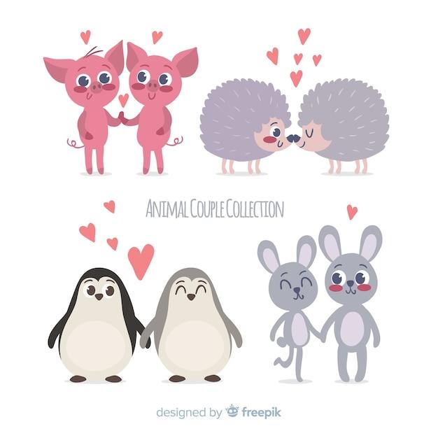 Pacote de casal animal mão desenhada dos namorados Vetor grátis