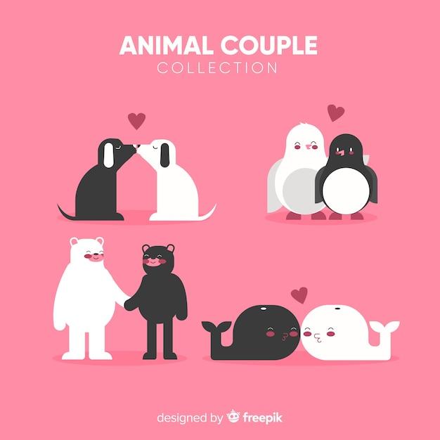 Pacote de casal animal simples dos namorados Vetor grátis