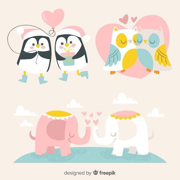 Pacote de casal de animais dia dos namorados mão desenhada Vetor grátis