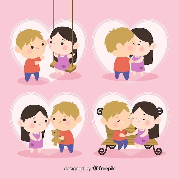 Pacote de casal lindo dia dos namorados Vetor grátis