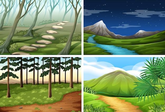 Pacote de cena paisagem natural Vetor grátis