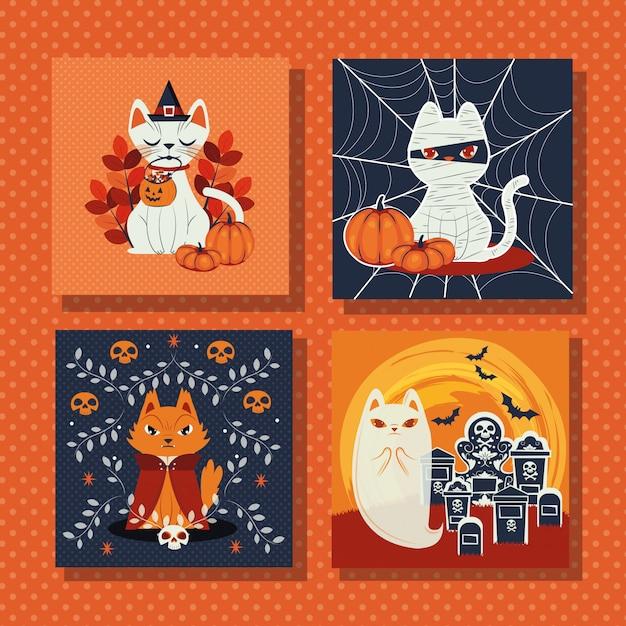 Pacote de cenas com personagens disfarçados de gatos Vetor grátis