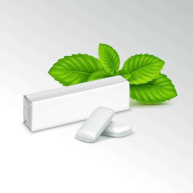 Pacote de chiclete com folhas de hortelã fresca Vetor Premium