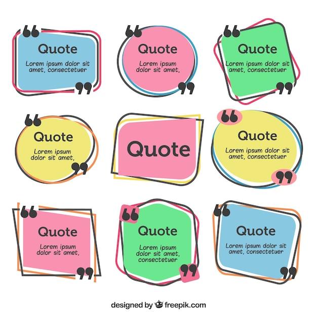 Pacote de citações desenhadas a mão com aspas Vetor grátis