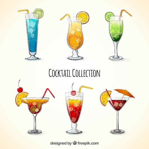 Pacote de cocktails desenhados à mão Vetor grátis