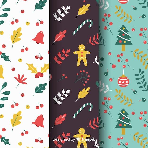 Pacote de coleção de padrão de natal Vetor grátis