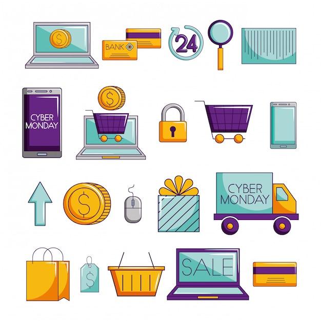 Pacote de comércio eletrônico conjunto de ícones Vetor grátis