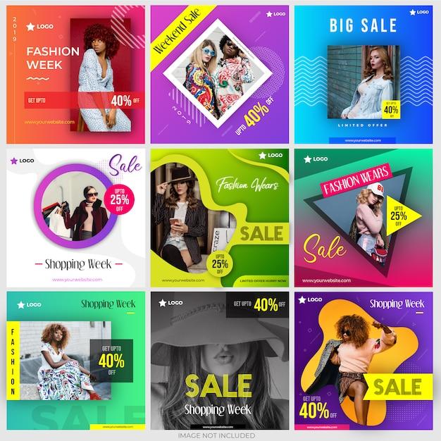 Pacote de compras de marketing de mídia social Vetor Premium