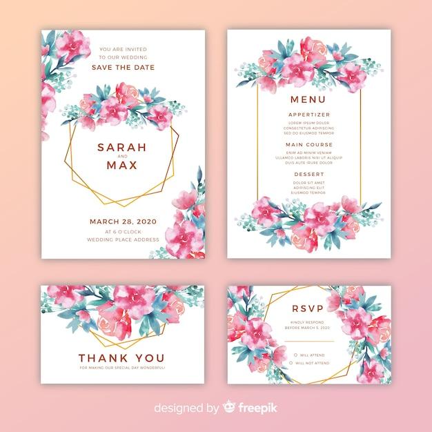 Pacote de convites de casamento muito floral Vetor grátis