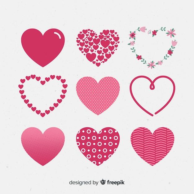 Pacote de coração diferente Vetor grátis