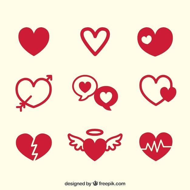 Pacote de corações bonitos Vetor Premium