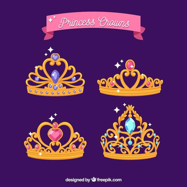Pacote de coroas de princesa de ouro Vetor grátis