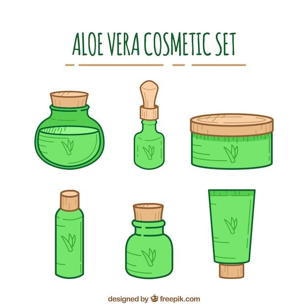 Pacote de cosméticos de aloe vera desenhados à mão Vetor grátis