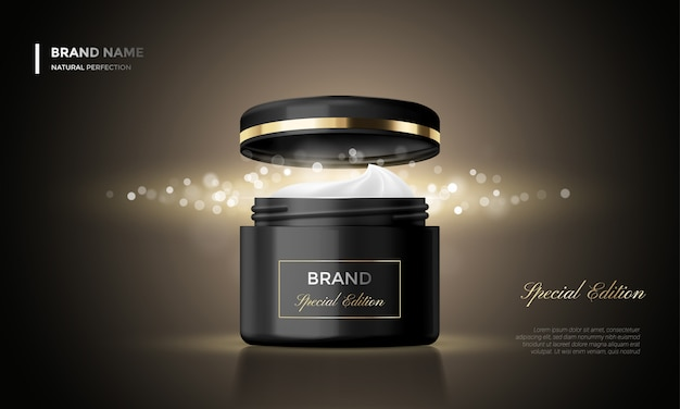 Pacote de cosméticos publicidade creme jar premium glitter preto fundo Vetor Premium