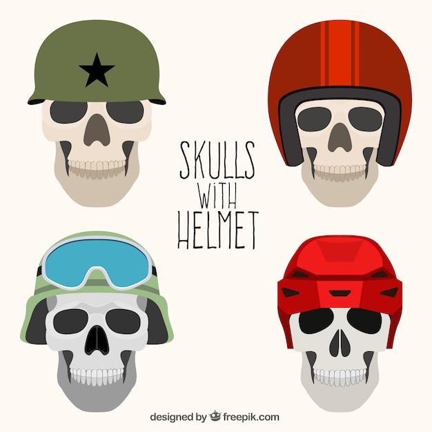 Pacote de crânios com diferentes capacetes Vetor grátis