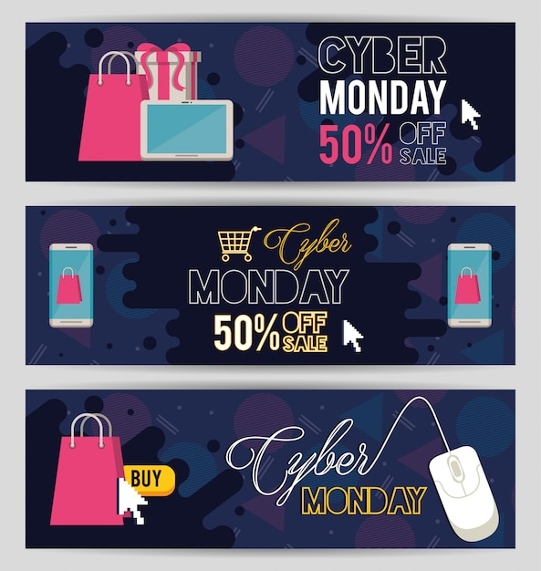 Pacote de cyber segunda-feira dia posters Vetor Premium