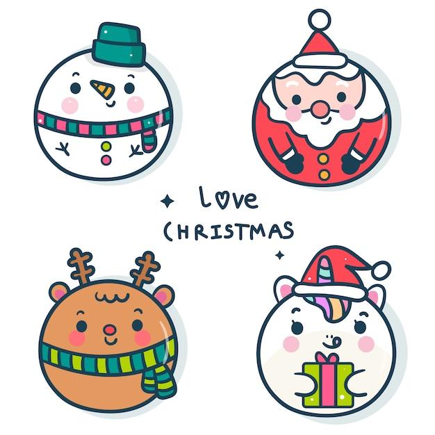Pacote de decoração de bolas de natal para o ano novo Vetor Premium