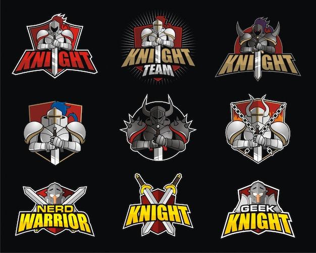 Pacote de design de logotipo e-sport com tema knight Vetor Premium
