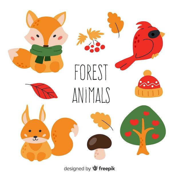 Pacote de design plano de animais da floresta Vetor grátis