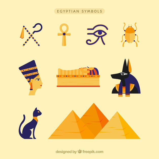 Pacote de deuses e símbolos do egito Vetor grátis