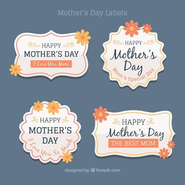 Pacote de Dia das Mães do vintage adesivos Vetor grátis