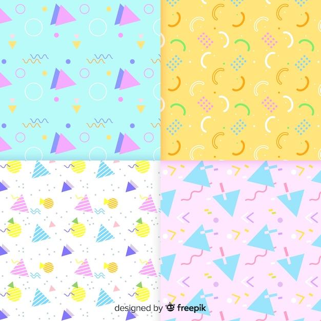 Pacote de diferentes padrões de memphis Vetor grátis
