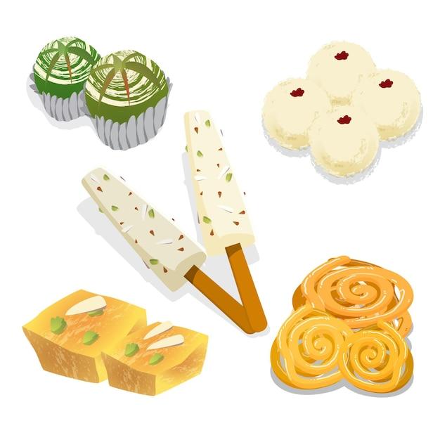 Pacote de doces indianos desenhados à mão Vetor Premium