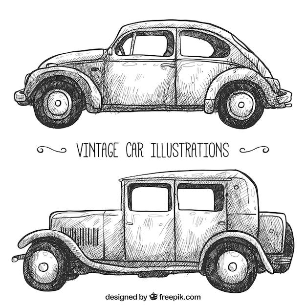 Pacote de dois automóveis retro Vetor grátis