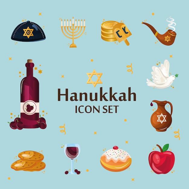 Pacote de doze hanukkah defina ícones e letras. Vetor Premium
