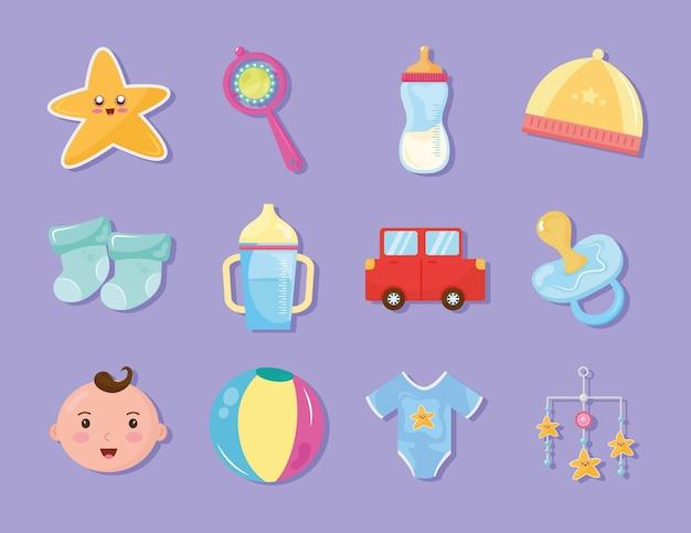 Pacote de doze ícones de celebração do chá de bebê com design de ilustração Vetor Premium