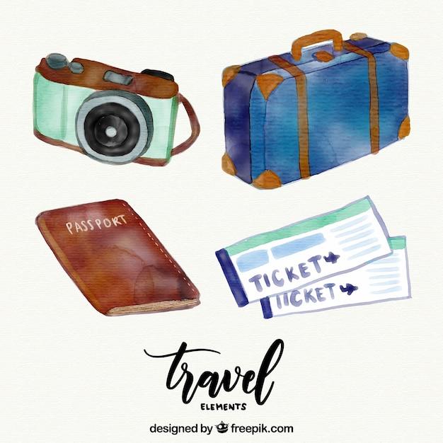 Pacote de elementos aquarela útil para viajar Vetor grátis